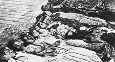"""Pogrom- From the Russian word for """"devastation""""; an unprovoked attack or series of attacks upon a Jewish community.-Photo believed to show the victims, mostly Jewish children, of a 1905 pogrom in Yekaterinoslav (today's Dnipropetrovsk)."""