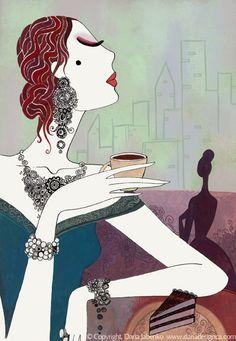 Coffee art love this stuff - Coffee Girl, I Love Coffee, Coffee Break, Morning Coffee, Illustrations, Illustration Art, Deco Cafe, Cafe Art, Tea Art