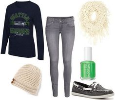 Seahawks fan Super Bowl look- Ok, so even if it is for the Seahawks, this is great inspiration for a PACKER game outfit