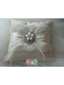 Wedding Ring Bearer Pillow Ivory Duppioni Silk Ringbearer Pillow