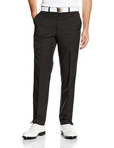 Greg Norman 2016 Mens Flat Front Pant Plain Golf Trousers - Black - 34-34