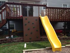 Backyard deck project for the kids. Rock wall and slide. Backyard deck project for the kids. Backyard Playground, Backyard For Kids, Backyard Projects, Backyard Ideas, Natural Playground, Playground Ideas, Outdoor Projects, House Projects, Fun Projects