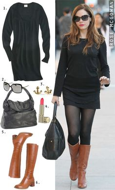228ef90bd4875 Dress by Number  Rose McGowan  Black Sweaterdress and Cognac Boots - The  Budget Babe