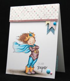 Clean and simple card. Mo Manning image colored with Copics, patterned paper by Maja Design.