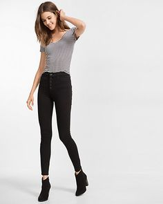 black high waisted button fly jean legging