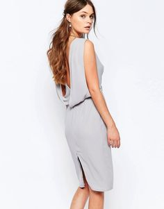 Elise Ryan Embellished Pencil Dress With Drape Back This might compliment the brides dress