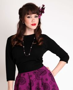Pull Over Sweater Black   Bettie Page Clothing