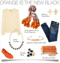 Add orange & blue accessories to your everyday denim and see where the day takes you.