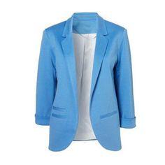 SheIn(sheinside) Blue Boyfriend Ponte Rolled Sleeves Blazer (33 AUD) ❤ liked on Polyvore