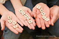 Baby Announcement Idea. Super cute scrabble letters.