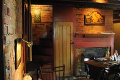 Memories of old haunts. This is inside Duffy's Tavern in Boalsburg, PA. I loved the old wood and brick with dim lighting.