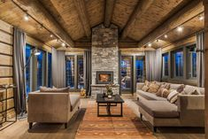 Wonderful Concepts to create your beautiful log cabins in the mountains or next to a lake. A necessity to take refuge from our crazy life. Diy Log Cabin, Timber Cabin, Log Cabin Kits, Log Cabins, Modern Rustic Homes, Cottage Homes, Living Room Inspiration, Log Homes, Home Living Room