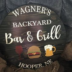 Personalized Bar & Grill backyard sign/grilling sign/deck sign/Porch sign/Bbq sign/Birthday gift/housewarming gift | 1000 - Modern | 1000 Backyard Signs, Backyard Bar, Outdoor Signs, Outdoor Deck Decorating, Bbq Signs, Bar Grill, Porch Signs, Wooden Signs, House Warming