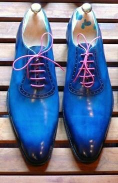 Blue leather bespoke shoes