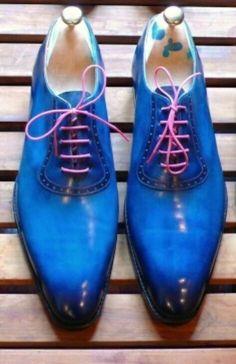 Blue leather bespoke shoes