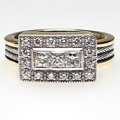 ESTATE PRINCESS CUT DIAMOND ENGAGEMENT RING W/CABLE ACCENTS SOLID 18K GOLD