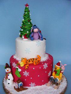 Winnie the Pooh Christmas Cake! I love Winnie the Pooh! Holiday Cakes, Christmas Desserts, Christmas Treats, Christmas Cakes, Winnie The Pooh Christmas, Winnie The Pooh Cake, Disney Christmas, Fancy Cakes, Cute Cakes