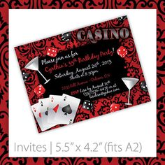 casino party invitation    Casino Party Invitations . PRINTABLE . by BlackCherryPrintable