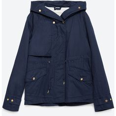 Zara Hooded Cotton Parka (130 CAD) ❤ liked on Polyvore featuring outerwear, coats, navy blue, hooded parka, blue parka, hooded coats, zara parka and zara coat