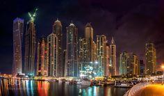 Nightscape Skyline of Dubai Marina Area UAE -