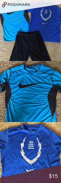Boys athletic bundle Two Boys Nike size Large athletic shirt and size L old navy black athletic shirts. Light blue is Nike Pro Combat fitted style. Dark blue is Nike Dri-Fit. All are in excellent condition with no stains or rips. Sorry they're so wrinkled looking- I've had them stored in a bag waiting for me to have time to take pics! Non smoking non pet home. Nike Shirts & Tops Tees - Short Sleeve
