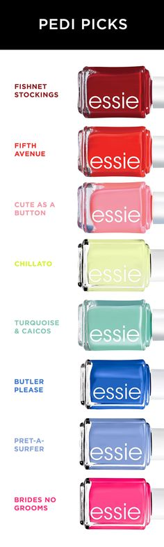 These are our top picks from Essie nail polish for pedicures this summer. For a classic red or pink look, we love Fishnet Stockings, Fifth Avenue and Cute as a Button. For a modern pop of color, Chillato is perfect. And we've got the summertime blues with Turquoise & Caicos, Butler Please and Pret-A-Surfer. Find them all at Kohl's.