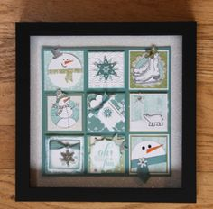 As I mentioned yesterday, earlier this month I had my Wintery Mix Collage Class. I have done a stamped sampler class at Christmas time for a couple of years now and many of my customers had mentioned that they wanted. Christmas Shadow Boxes, Christmas Collage, Christmas Frames, Box Frame Art, Box Frames, Collage Frames, Collage Ideas, Candy Cards, Marianne Design