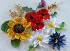 sunflower poppy MEADOW SUMMER CROCHET COTTON FLOWERS APPLIQUE EMBELLISHMENT | eBay