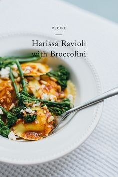looking for an easy solution to weeknight dinner? click through for a tasty recipe for harissa ravioli with broccolini.