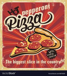 Retro pizza sign poster on old paper texture. Pizza Sign, Pizza Art, Pizza Pizza, Pizza Branding, Old Paper Texture, Pizza Kunst, Nostalgic Art, Ad Of The World, I Love Pizza