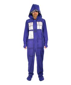 Blue Doctor Who TARDIS Hooded Footie Pajamas - Adult