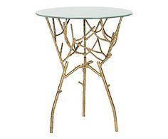 Tavolino in ferro e vetro Addison oro/bianco, 45x45x57 cm
