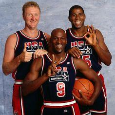 Larry Bird, Michael Jordan, and Magic Johnson.  1992 Dream Team.