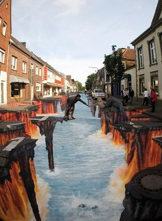 Germany 3-D sidewalk art.  This is kinda freaky.