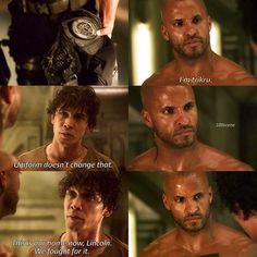 "#The100 3x01 ""Wanheda: Part One"" - Bellamy and Lincoln"