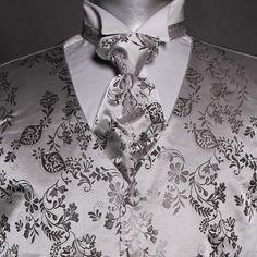 Seremonivest med tilbehør i grå Floral Tie, Vest, Accessories, Fashion, Moda, Fashion Styles, Fashion Illustrations, Jewelry Accessories