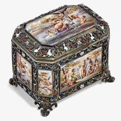 Silver Filigree, Silver Enamel, Louvre, Garden Items, Gold Wash, Antique Auctions, Casket, Makers Mark, Tea Set