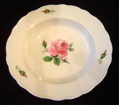 porcelans | Meissen Rose Pattern Porcelain Soup Bowl - For Sale