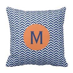 Monogram Royal Blue with Orange Chevron Pattern Outdoor Pillow Custom Pillow Cases, Custom Pillows, Chevron Throw Pillows, Decorative Throw Pillows, Pillow Room, Cushion Pillow, Orange Chevron, Perfect Pillow, Throw Pillow Covers