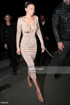 Gigi Hadid arrives at the Balmain After Show Party at 'Laperouse' restaurant as part of the Paris Fashion Week Womenswear SpringSummer 2016 on October 1, 2015 in Paris.