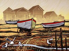 Lino cut by Rob Barnes. He studied painting and printmaking at Hull College of Art and London University in the early Linocut Prints, Art Prints, Block Prints, Boat Shed, Linoleum Block Printing, Linoprint, Wood Engraving, Woodblock Print, Printmaking