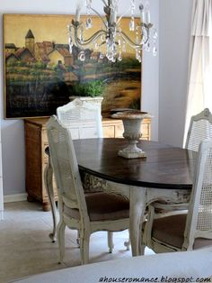 French cane table and chairs http://ahouseromance.blogspot.com/