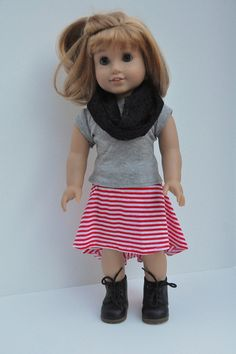 American Girl Doll Clothes Red and White Stripe by CircleCSewing, $18.00