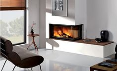 Chimenea con identica distribución a la nuestra.  Modern Built In Fireplaces By Rocal