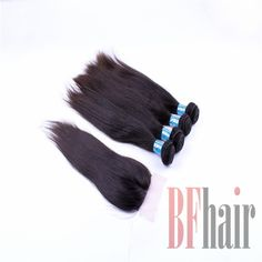 BF Hair 1Piece Top Lace Closure with 4Pcs Hair Bundles 5A Grade, 5pcs/lot Brazilian Virgin Hair Extension Straight hair - BF Hair