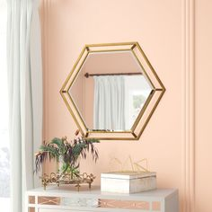 Get inspired by Glam Living Room Design photo by Room Ideas. Wayfair lets you find the designer products in the photo and get ideas from thousands of other Glam Living Room Design photos. Mirror With Hooks, Round Wall Mirror, Octagon Mirror, Wall Mirrors, Mirror Mirror, Unique Mirrors, Beautiful Mirrors, Gold Walls, Metal Walls