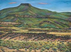 """Ghost Ranch"".  Northern New Mexico desert landscape of Georgia O'Keefe country with the Pedernal mountain in the distance. Abiquiu, New Mexico landscape painting by Johnathan Harris."