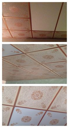 An affordable way to change the look of old tile ceilings. Using paint, wallpaper,and stencils.   A quick tutorial can be found on my website. www.craftylassy.com