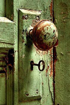Weathered Green Door & Door Knob ....
