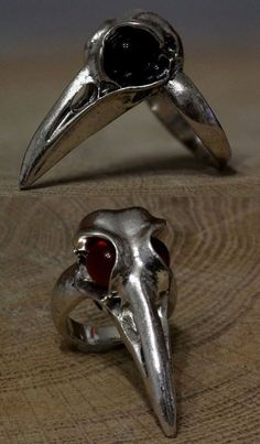 RAVEN SKULL RING CROW BIRD GLASS STONES ANTIQUE SILVER WICCA STEAMPUNK GOTHIC  #Unbranded @meow126